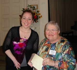 Doris Mauer, member of the Transition Scholarship committee, presenting Stephanie O'Connor the Transition Scholarship at the 2012 annual meeting.
