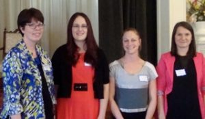 Nancy Henderson, Chair of Transition Scholarship Committee (l) with 2016 Scholarship award winners Christine King, Ashley Rasmussen and Alma Miskic